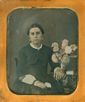 Daguerreotype of a Lady with a beautiful flower arrangement