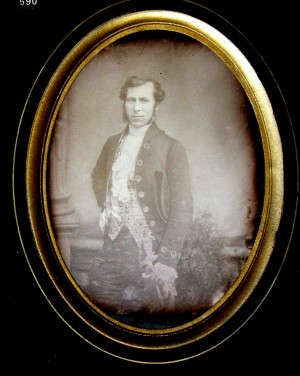 Daguerreotype of a Man wearing 18th century Livery Costume
