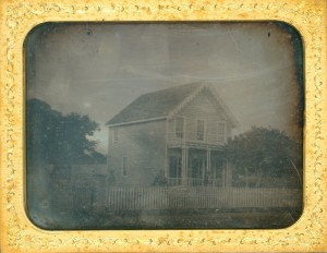 Daguerreotype of a New House with Clapboard Siding and Gingerbread