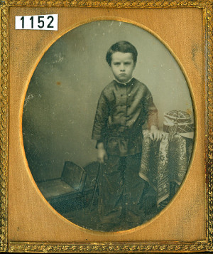 Daguerreotype of a Boy and his Sled