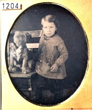 Daguerreotype of a Boy and his Dog