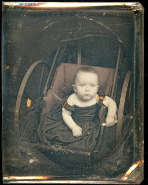 Daguerreotype of a Child in a Baby Carriage