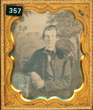 Daguerreotype of Man in an Exotic Setting.